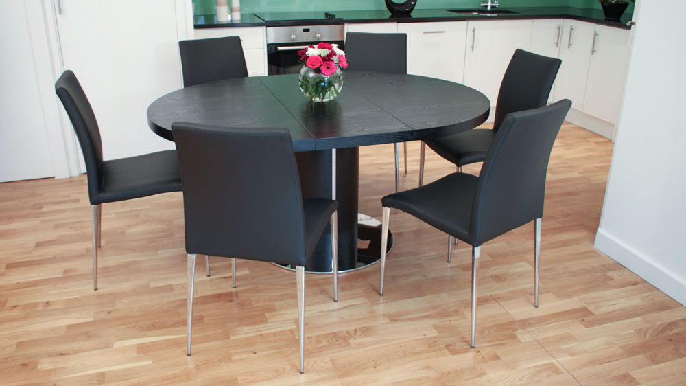 Large Extending Black Dining Set