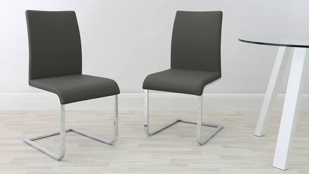 Modern Grey Cantilever Dining Chairs