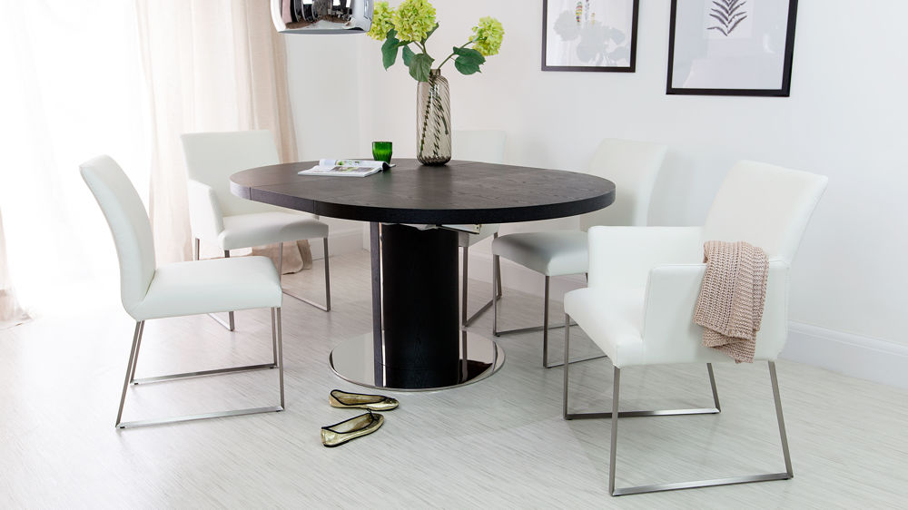 Modern Extending Dining Set with Real Leather Chairs