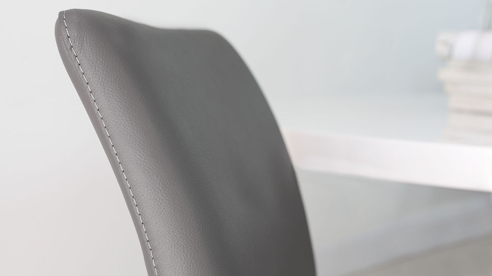 Comfortable Grey Real Leather Dining Chairs