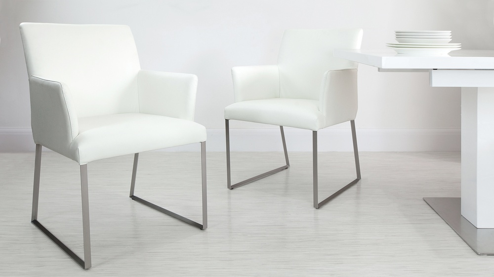 White Dining Arm Chairs