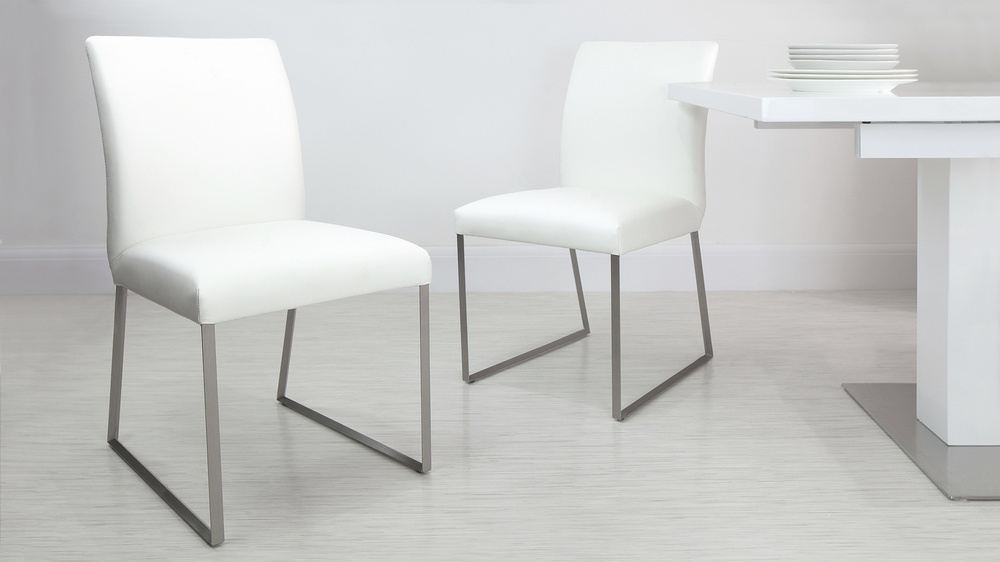 Comfortable White Leather Dining Chairs