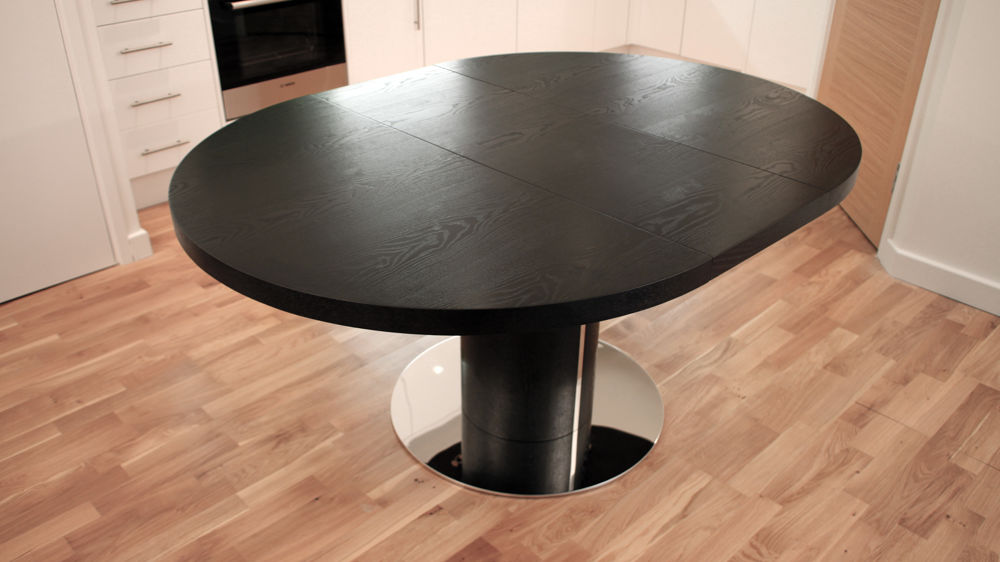 Black Wood Veneer and Chrome Based Extending Dining Table