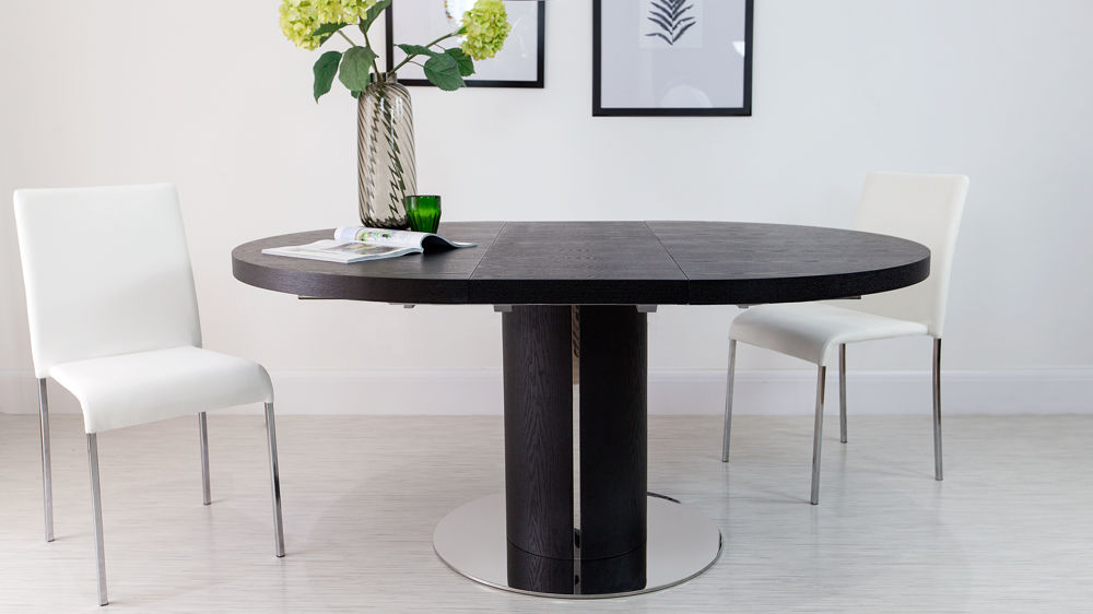 Large Round Black Extending Dining Table