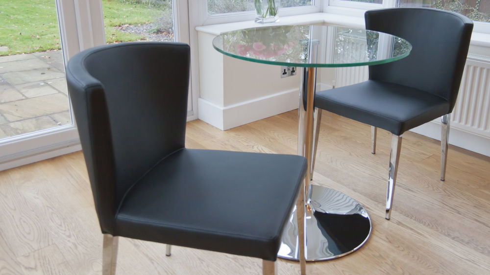 Tapered Chrome Legged Dining Chairs UK