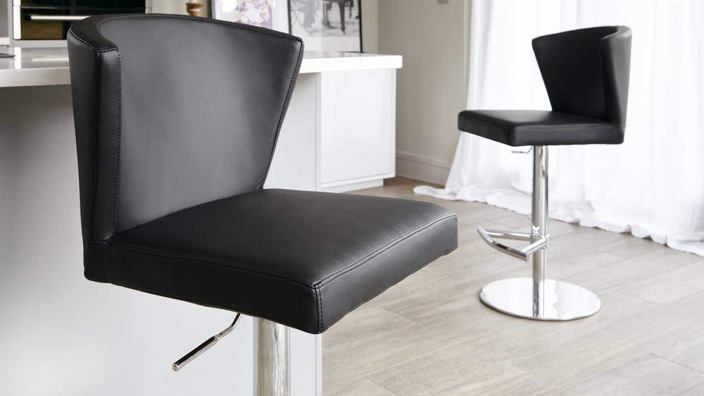 Stylish Black Leather Bar Stool with Back Rest