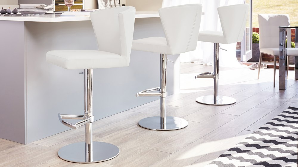 White Contemporary Gas Lift Bar Stools