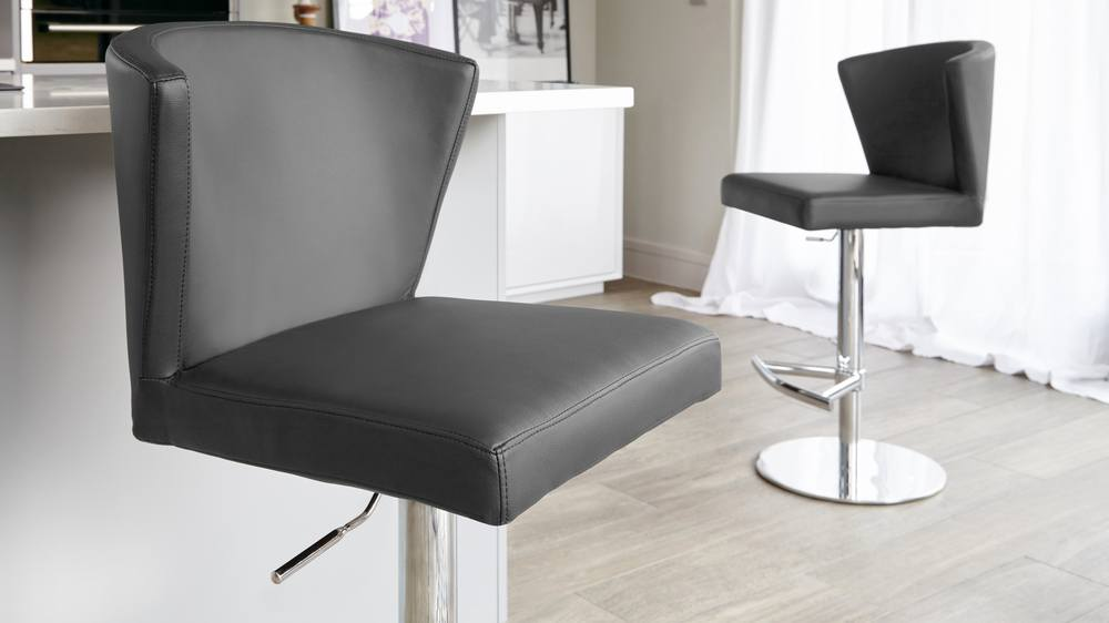 Dark Grey Bar Stool with Tall Back Rest