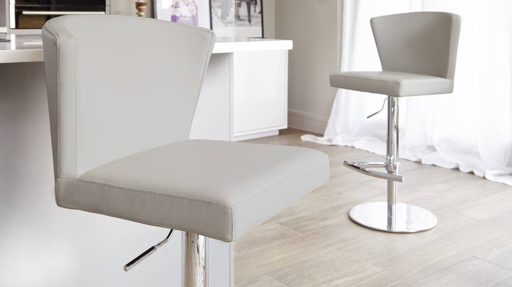 High Back Rest on a Grey Bar Stool