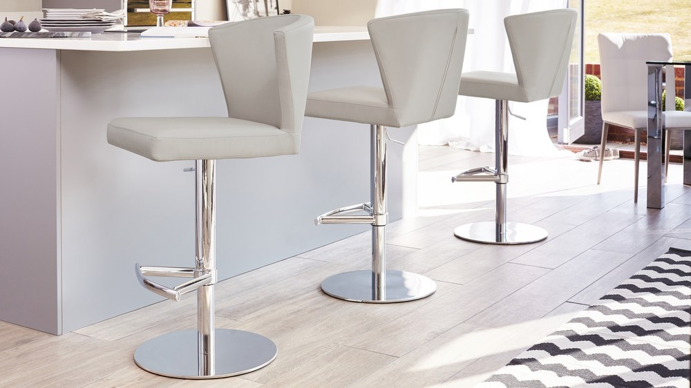 Contemporary Grey Gas Lift Bar Stools UK