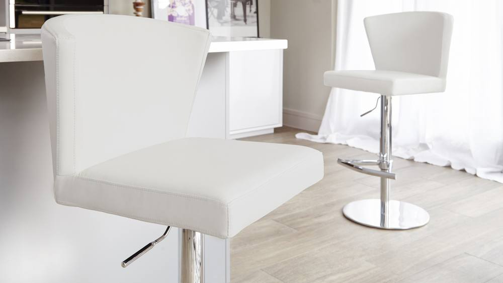 High Backed White Bar Stools