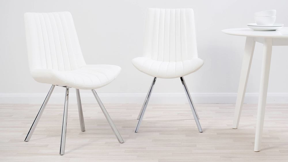 Quilted white and chrome chair
