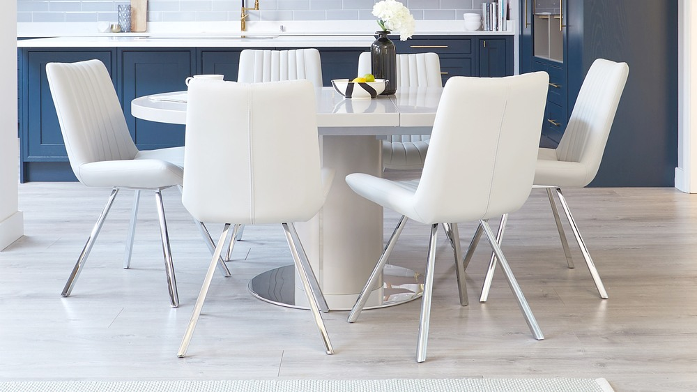 Curva matt grey and chrome extending dining table