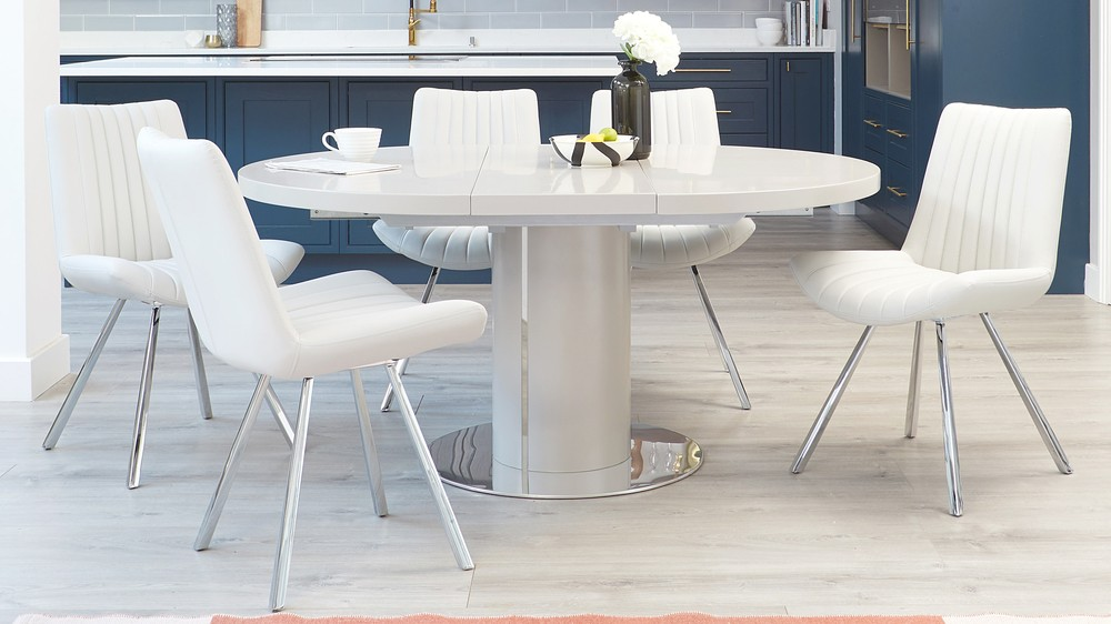 Petra and curva matt grey extending dining table