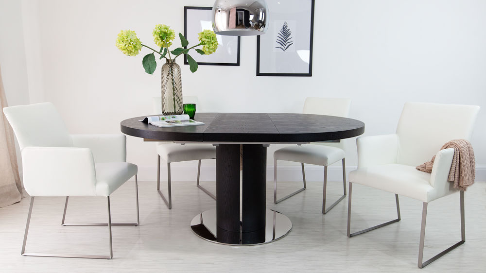 Stylish Real Black And White Leather Extending Dining Set