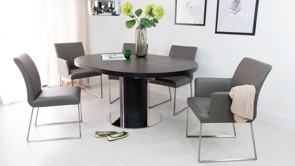 Beautiful Comfortable Real Leather Dining Chairs And Black Dining Table
