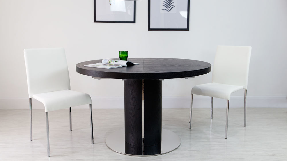 Black Extendable Dining Table black ash round extending dining table | pedestal base | uk