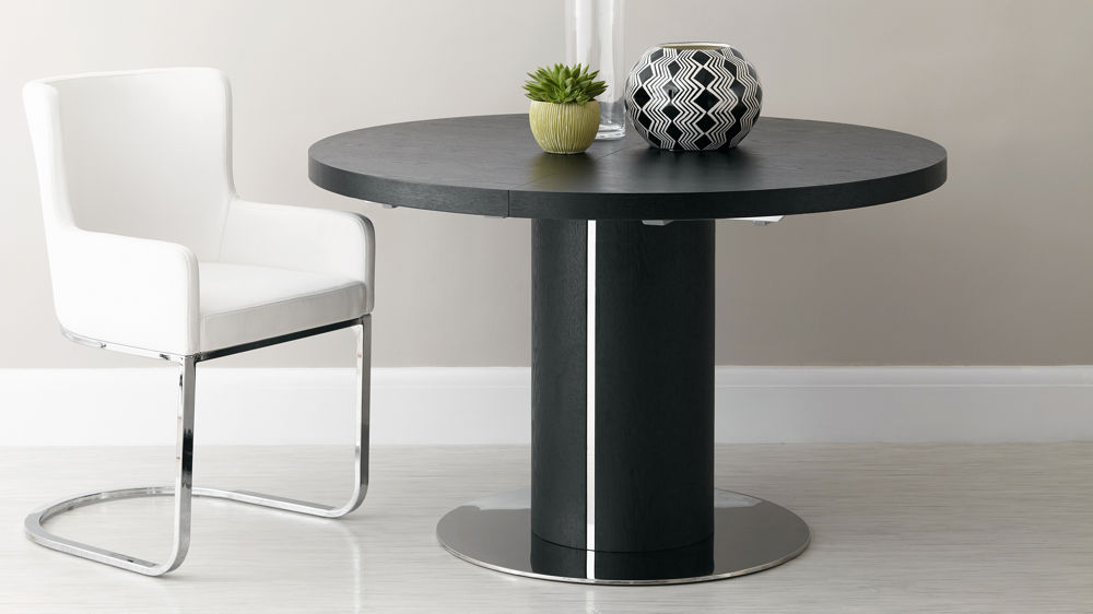 Round Black Wood Veneer Easy Extending Dining Table