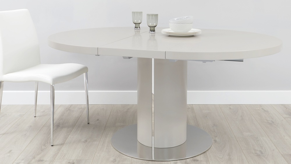 Curva matt grey extending round dining table