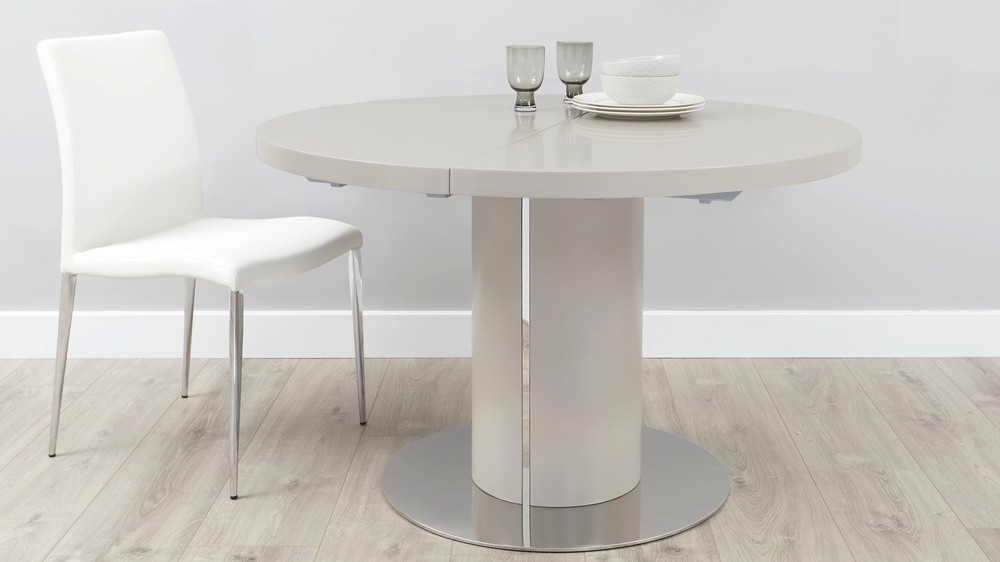 Matt grey round extending dining table