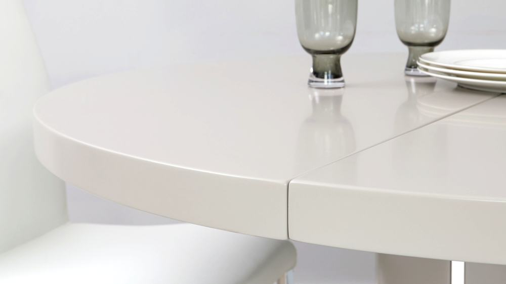 Matt grey modern round extending dining table