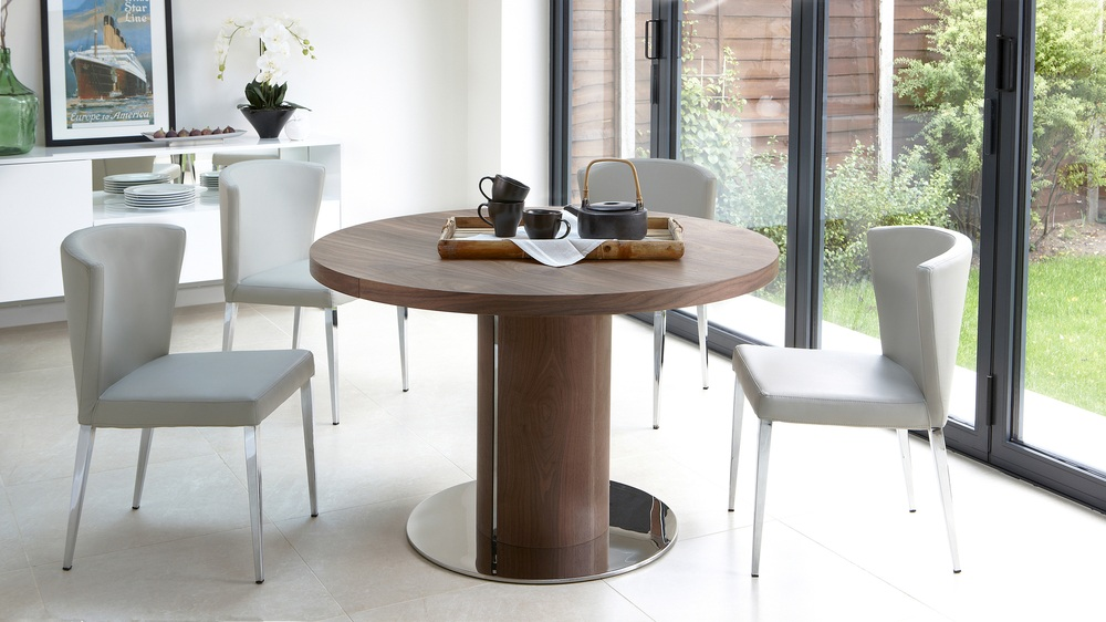 Round Walnut Wood Veneer Extending Dining Table