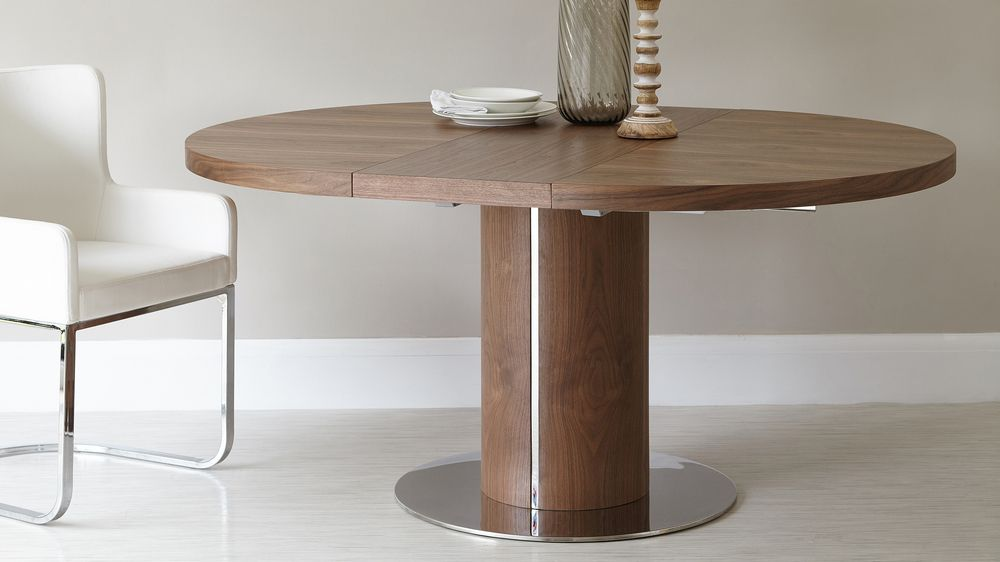 Round walnut extending dining table pedestal base uk for Round extendable dining table