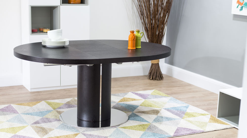 Round Wenge Wooden Extending Dining Table Pedestal