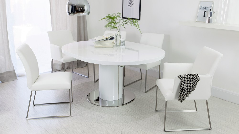 4 6 Seater White Gloss Extending Dining Table