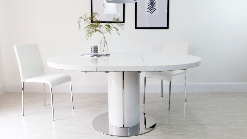Round white gloss extending dining table pedestal base for Round extending dining table