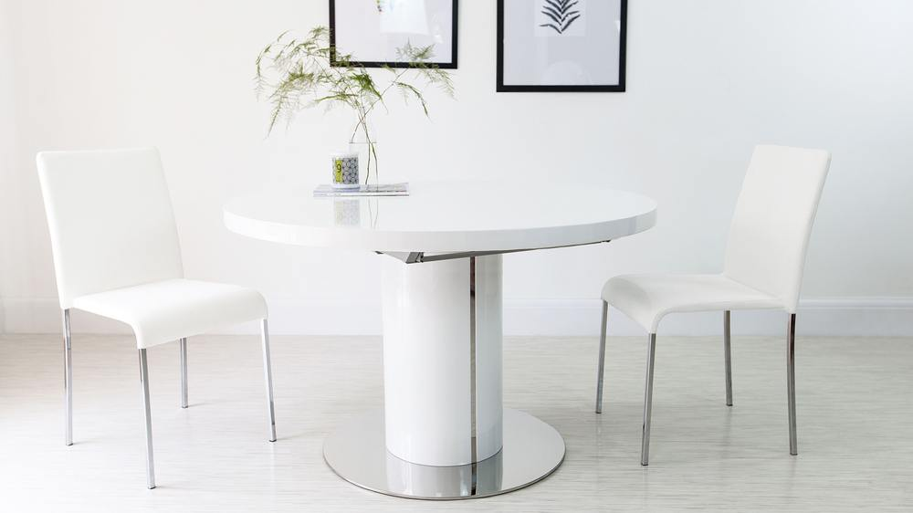 1600mm White Gloss Extending Dining Table