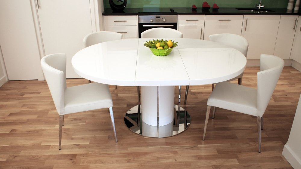 Round White Gloss Extending Dining Table Pedestal Polished Steel