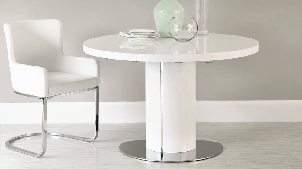 Round white gloss extending dining table pedestal base for Small designer dining table