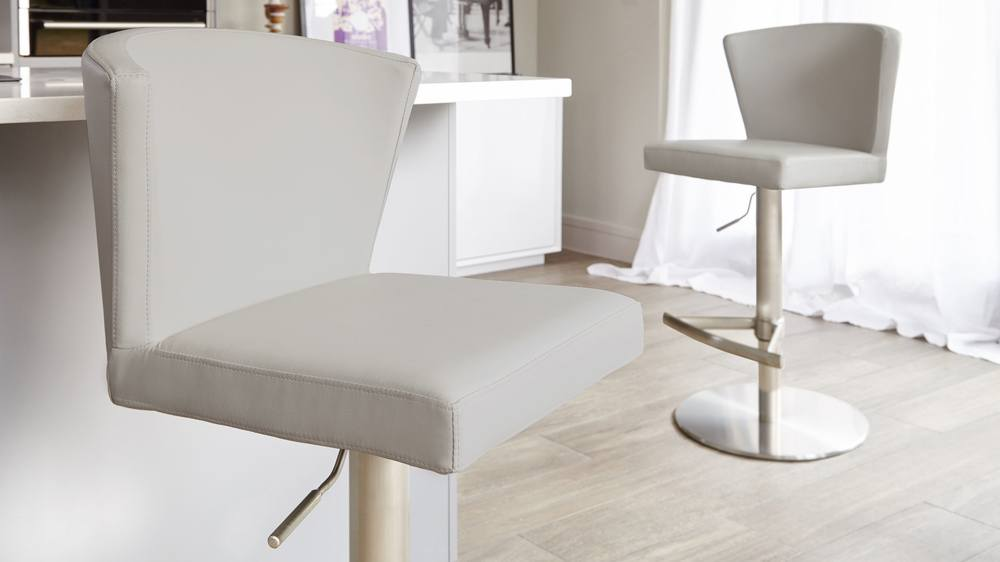 Cool grey brushed steel bar stool
