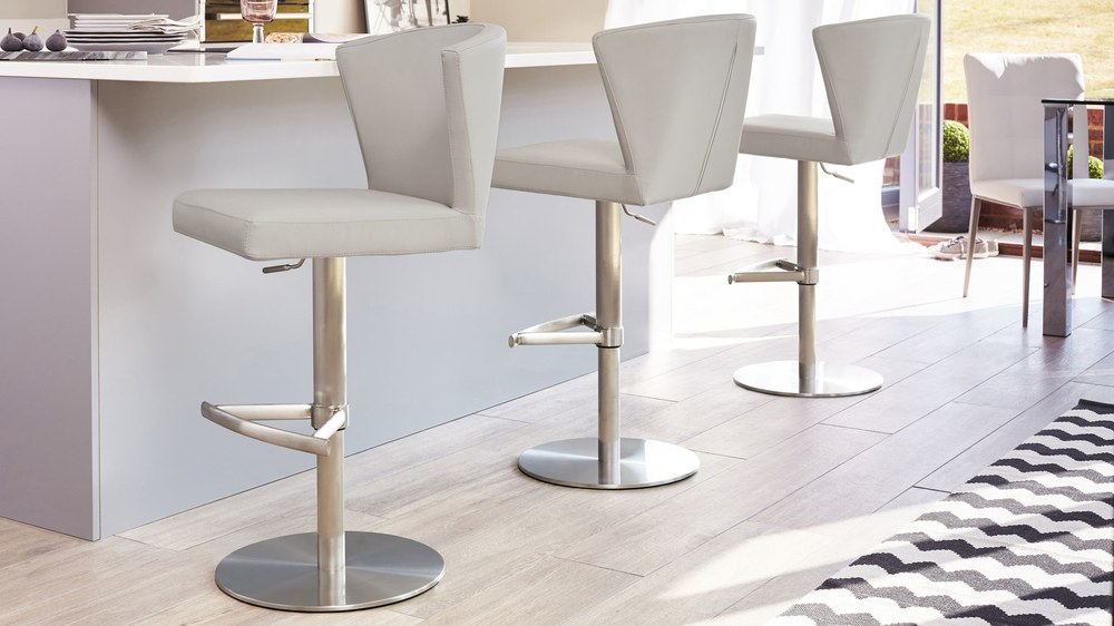 Cool grey faux leather bar stools