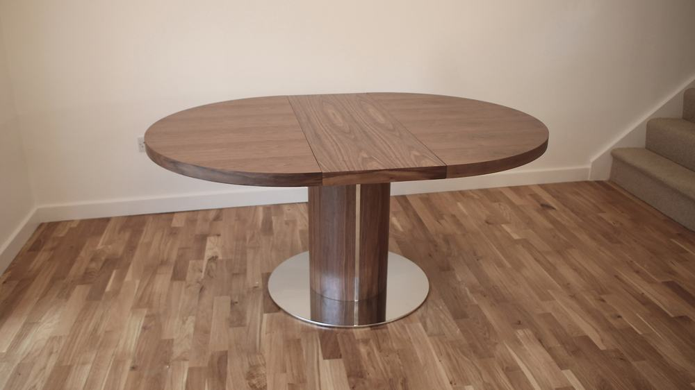 Walnut Wood Veneer and Chrome Extending Dining Table
