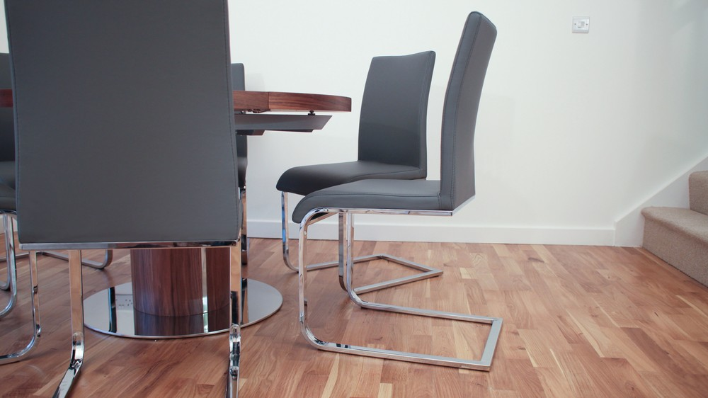 Chrome Legged Dining Chairs and Extending Dining Table