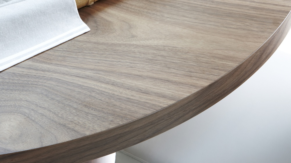 High Quality Wood Veneer and Faux Leather Dining Set