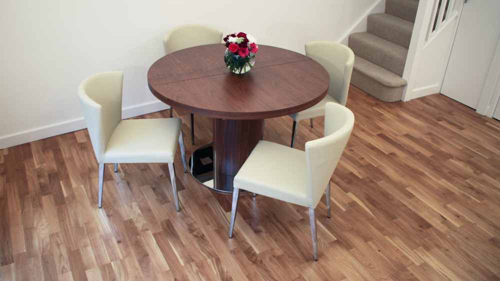 Modern Beige Dining Chairs and Walnut Extending Dining Table
