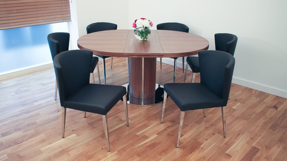 Stylish Shaped Black Dining Chairs And Easy Extending Dining Table Part 75