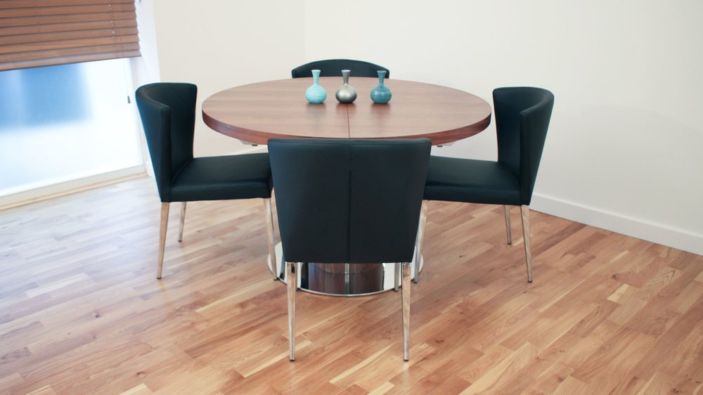 Large Round Walnut and Chrome Extending Dining Table