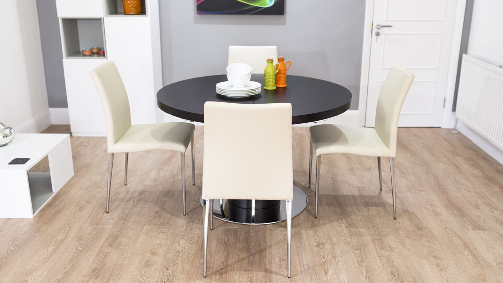 Stylish Dark Wood Veneer Extending Dining Table and Beige Faux Leather Dining Chairs