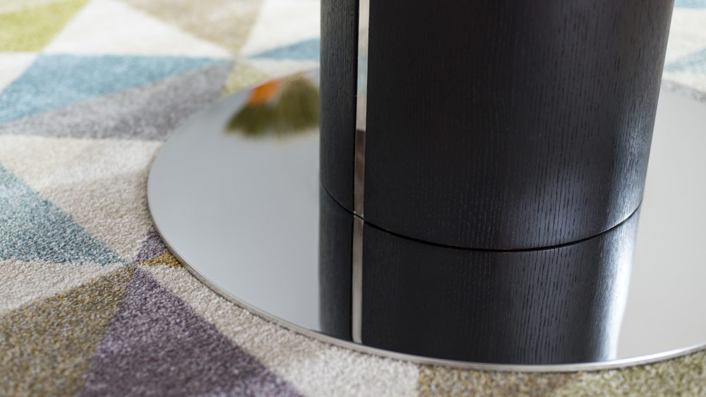 Dining Table with a Round Chrome pedestal