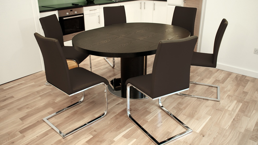 Modern Dark Wood Extending Dining Table with Swing Chairs