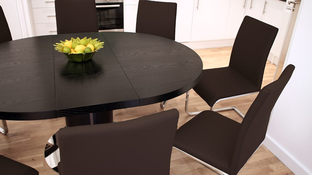 Large 4-6 Seater Extending Dining Table with Brown Chairs