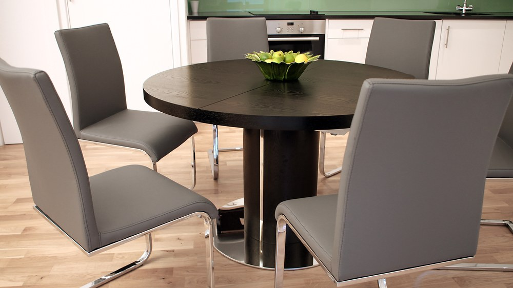 Stylish Grey Cantilever Dining Chairs and Wenge Oval Dining Table