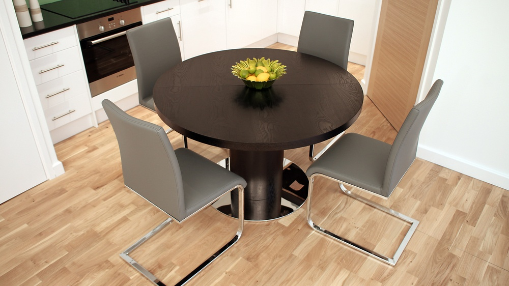Round Wenge Extending Dining Table And Grey Dining Chairs