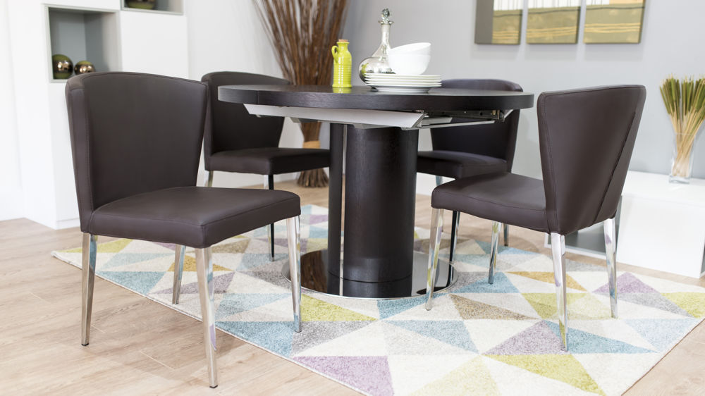 Stylish Dining Chairs and Wenge Round Extending Dining Table