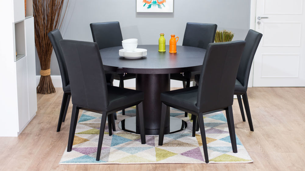 Stylish Real Leather Dining Chairs and Wenge Wood Dining Table