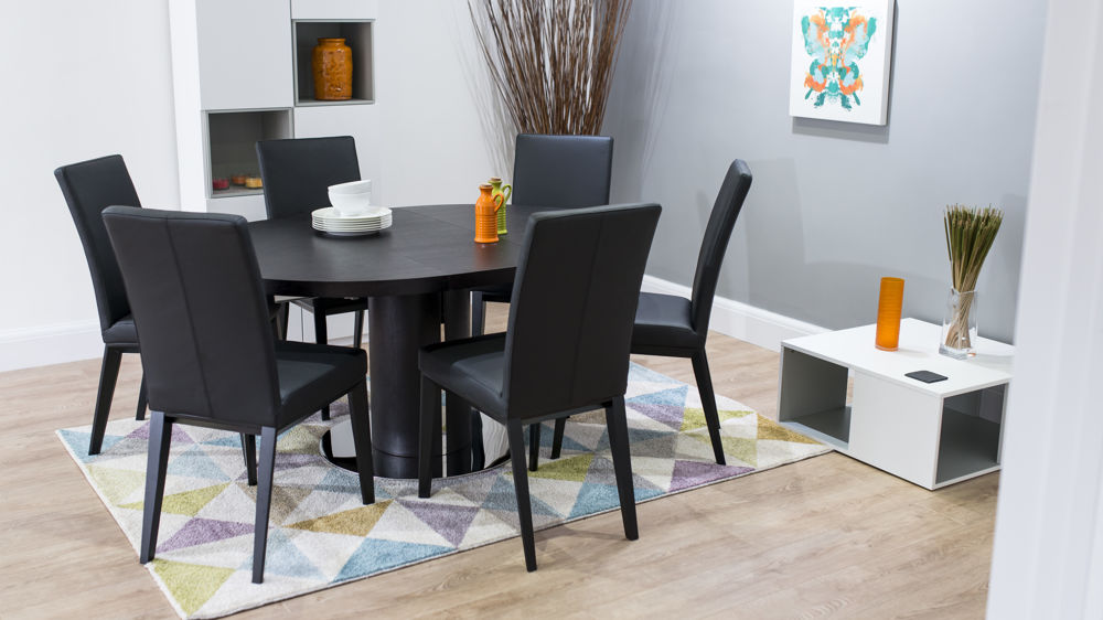 Contemporary Black Round Extending Dining Set